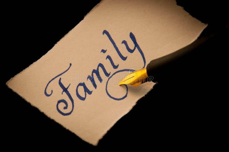 Etiqueta manuscrita de la familia imagen de archivo