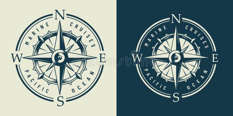 Etiqueta marina monocromática del vintage stock de ilustración
