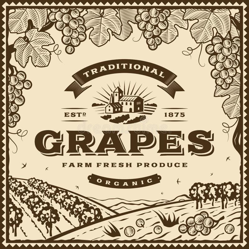 Etiqueta marrom das uvas do vintage ilustração do vetor