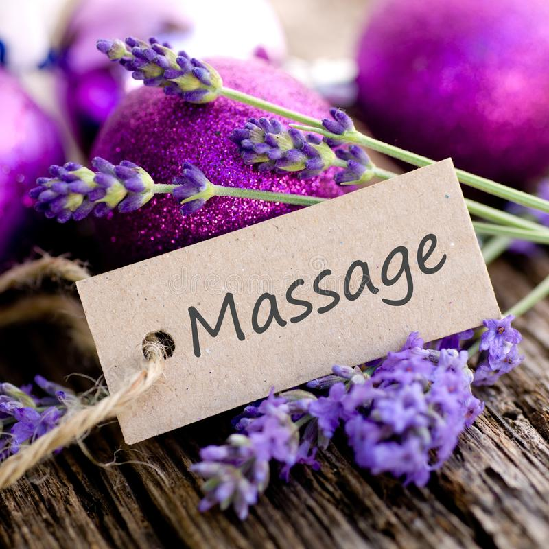 Etiqueta, massagem foto de stock