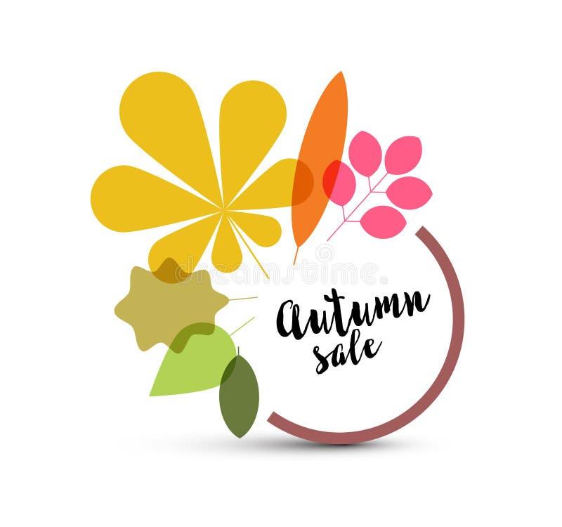 Etiqueta minimalista de la venta del otoño con las hojas stock de ilustración