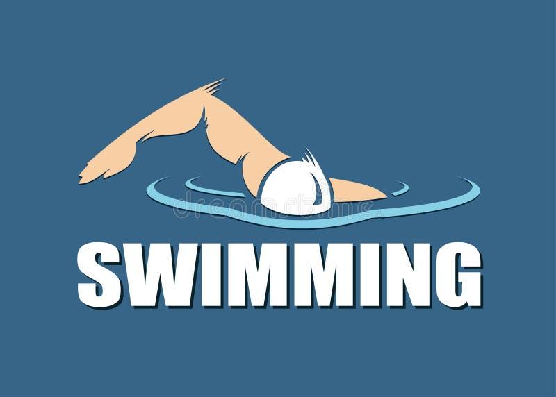 Etiqueta nadadora ilustração do vetor