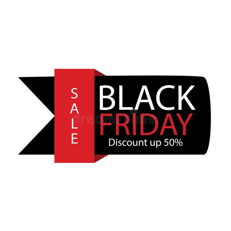 Etiqueta negra de la venta de viernes Ejemplo del anuncio del vector Etiqueta de comercialización promocional de la venta de vier ilustración del vector