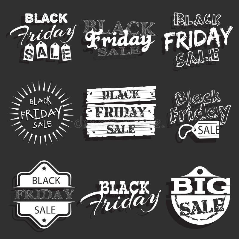 Etiqueta negra de viernes, insignia con diseño caligráfico ilustración del vector