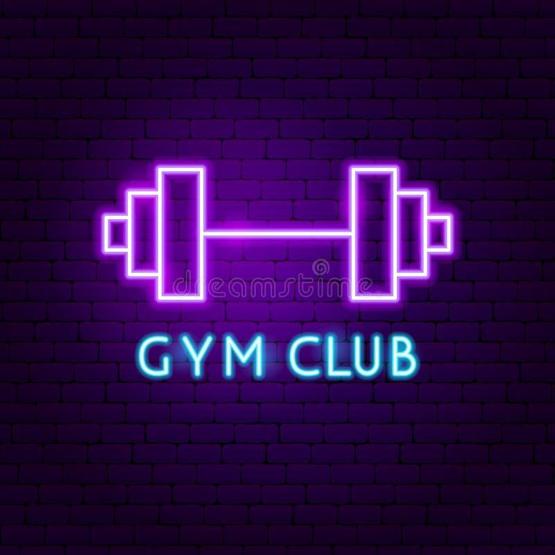 Etiqueta Neon de Gym Club stock de ilustración