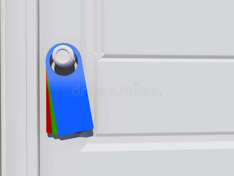 Etiqueta no puxador da porta ilustração stock