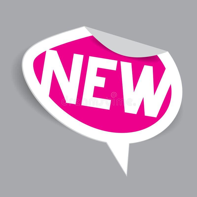 Etiqueta nova Ícone novo cor-de-rosa oval de papel do vetor ilustração royalty free