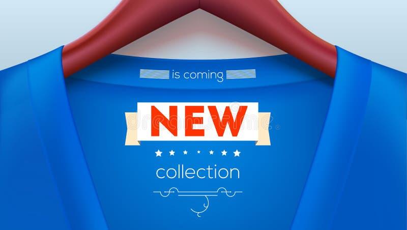 Etiqueta nova da coleção na camisa Casaco azul que pendura em ganchos ilustração royalty free