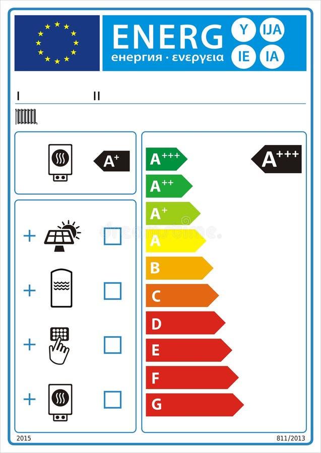 Etiqueta nova do gráfico da avaliação da energia ilustração do vetor