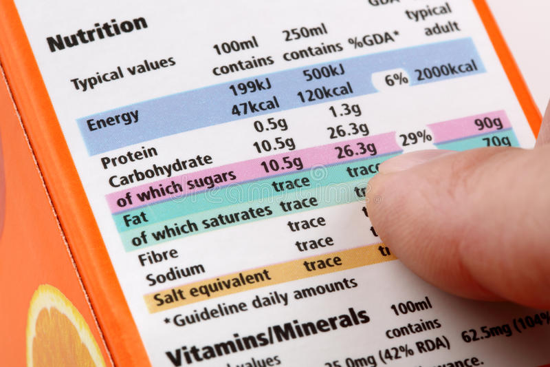 Etiqueta nutritiva fotos de stock