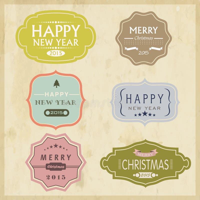 Etiqueta 2015 o etiqueta engomada del vintage de la celebración de la Navidad y del Año Nuevo libre illustration
