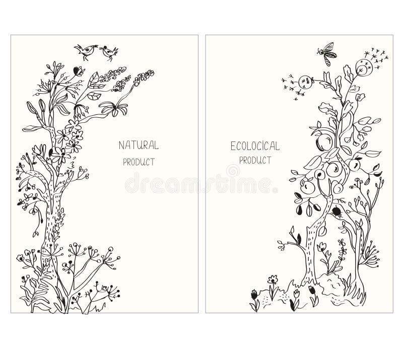 Etiqueta o etiquetas engomadas para los productos ecológicos con las flores y las plantas, ejemplo gráfico, estilo incompleto stock de ilustración