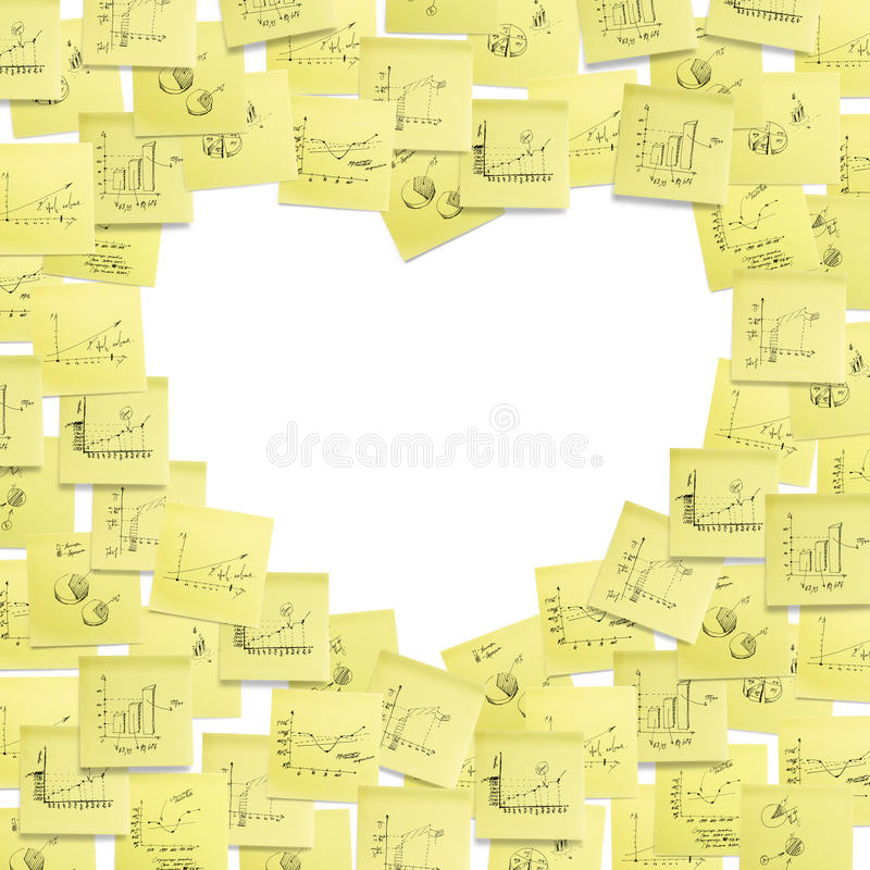Etiqueta o frame do post-it, coração dado forma. ilustração do vetor