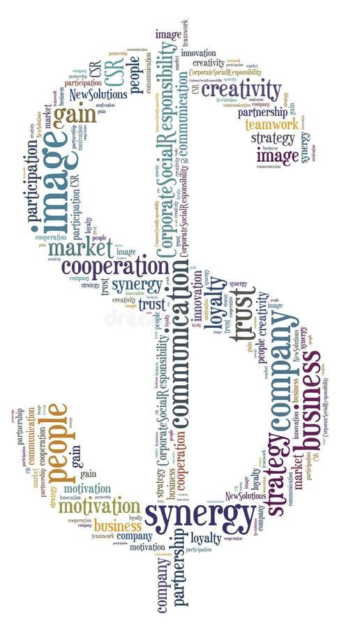 Etiqueta o nube de la palabra relacionada con el mercado en la forma del dólar ilustración del vector