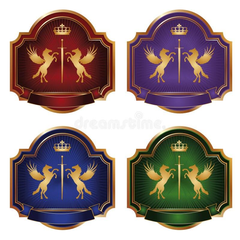 Etiqueta o ouro pegasus -   foto de stock royalty free