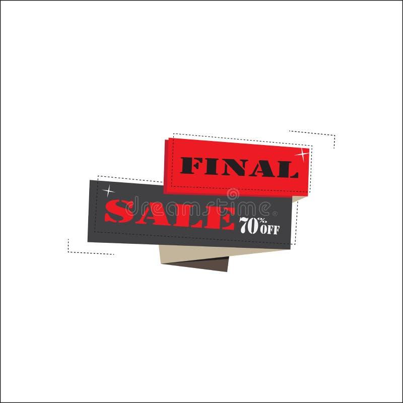 Etiqueta o precio final de la venta en el fondo blanco, ejemplo del vector libre illustration