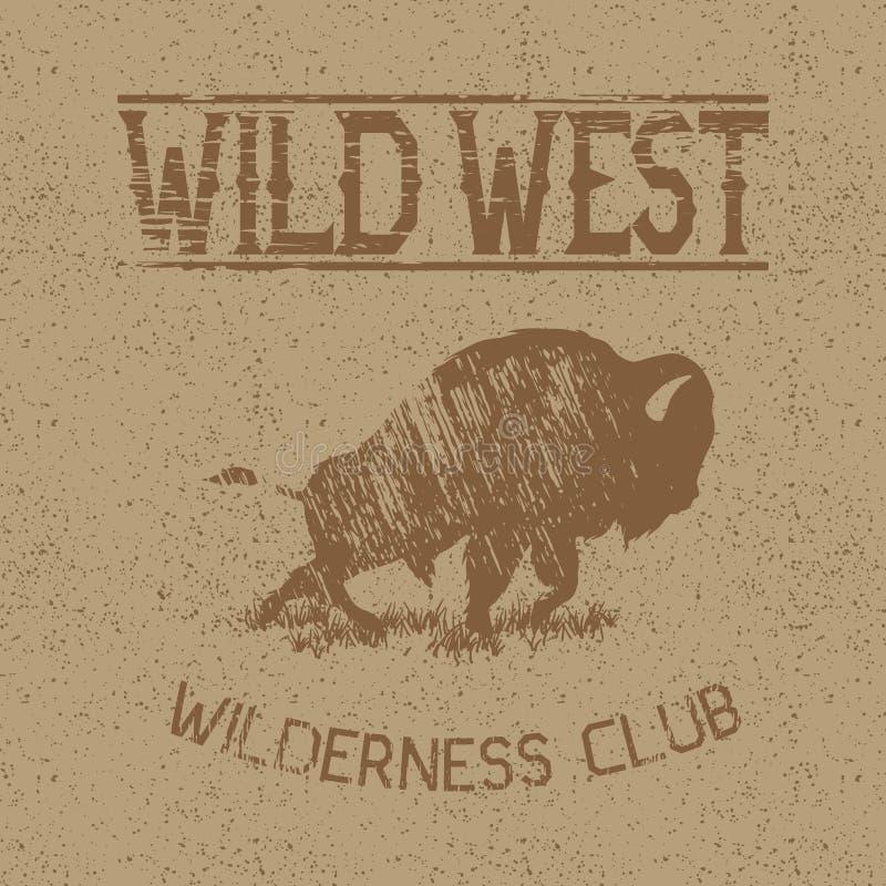 Etiqueta occidental del vintage con el bisonte stock de ilustración