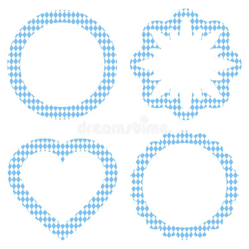 Etiqueta Oktoberfest que diversas formas modelan blanco y azul claro ilustración del vector