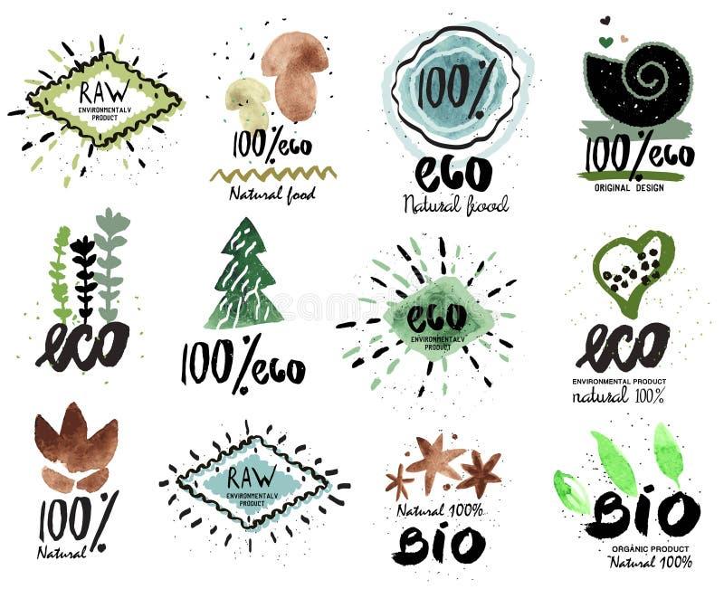 Etiqueta orgânica Ícones frescos e saudáveis do alimento Bio logotipo orgânico, logotipo de Eco ilustração do vetor