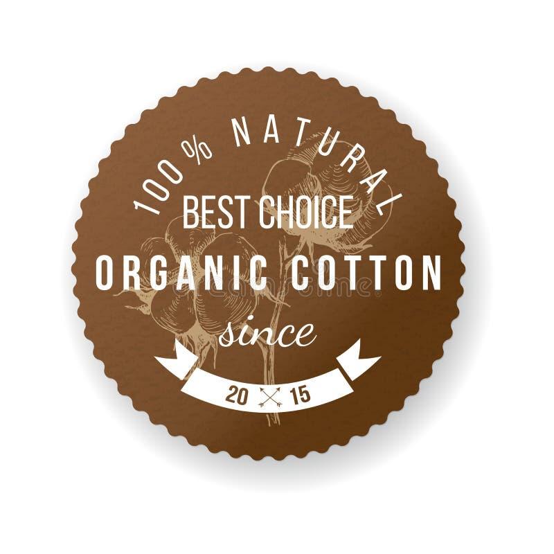 Etiqueta orgânica do algodão ilustração stock