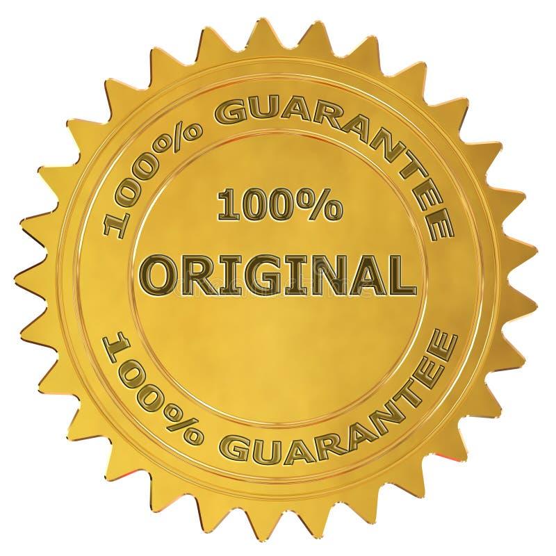 etiqueta original da garantia de 100% ilustração do vetor