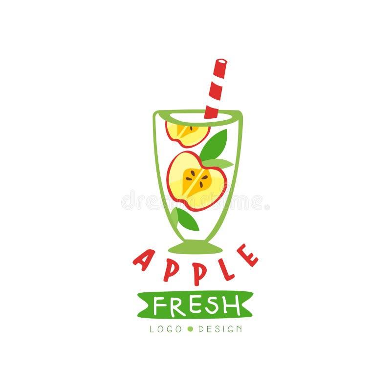 Etiqueta original del vector con mitades de la manzana y de hojas en vidrio Jugo de fruta sano Producto natural Nutrición del veg libre illustration