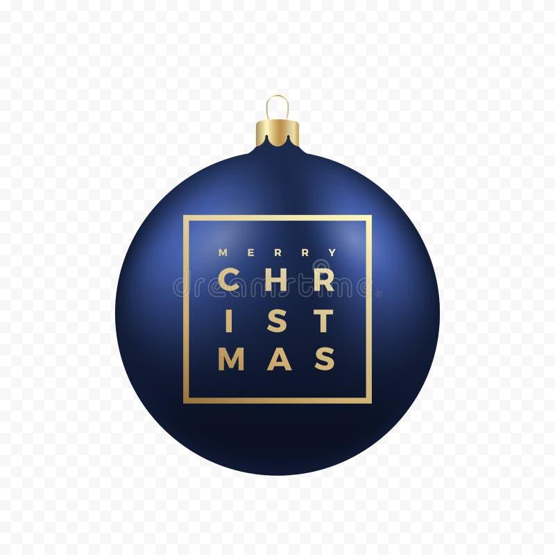 Etiqueta ou bandeira dos cumprimentos do Natal Bola azul no fundo transparente com tipografia moderna dourada em um quadro ilustração royalty free