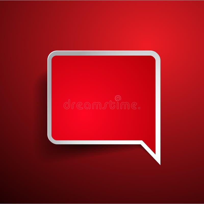 Etiqueta ou bolha vermelha vazia do discurso ilustração stock