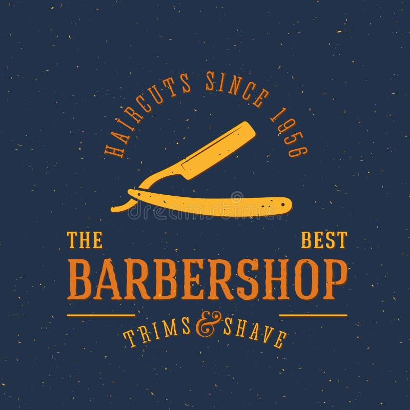 Etiqueta ou Logo Template do vintage do vetor do barbeiro ilustração royalty free