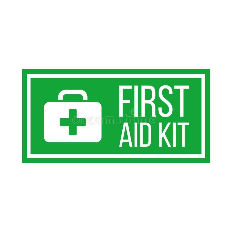 Etiqueta ou sinal verde do kit de primeiros socorros Caixa m?dica com cruz Equipamento m?dico para a emerg?ncia Conceito dos cuid ilustração do vetor