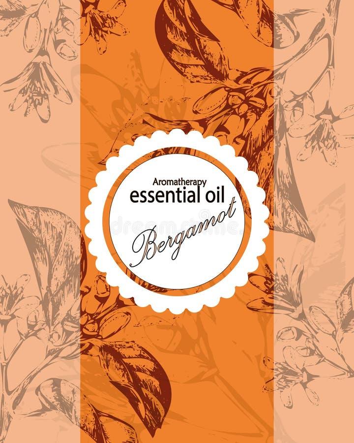 Etiqueta para el aceite esencial de la naranja stock de ilustración