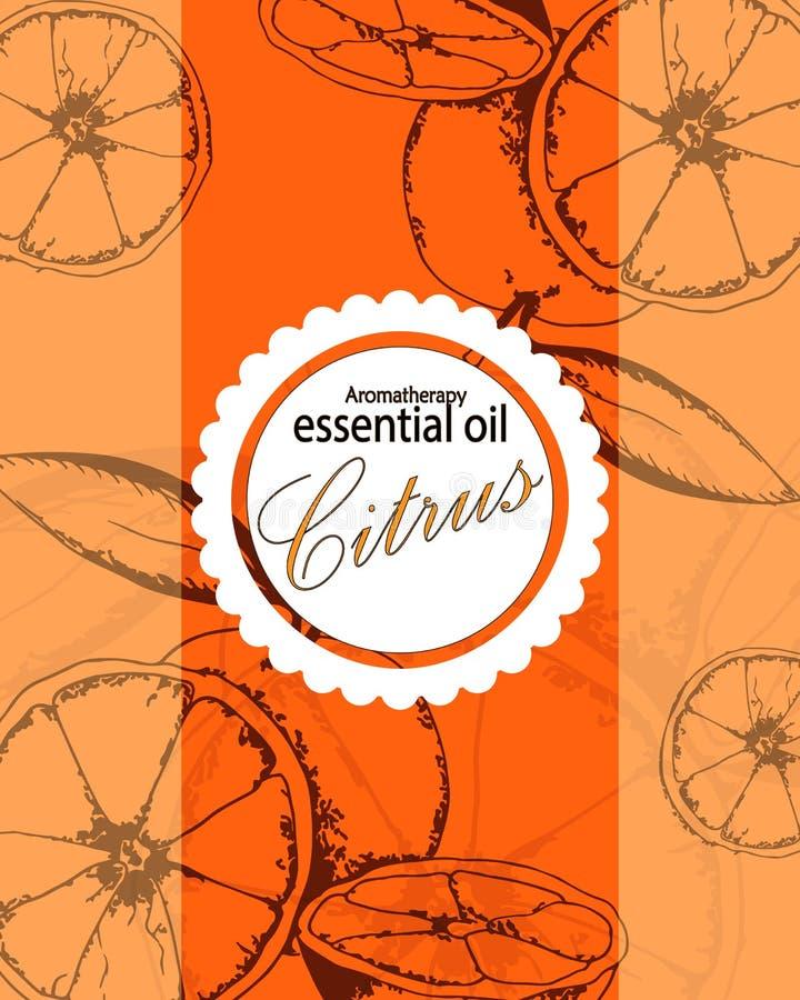 Etiqueta para el aceite esencial de la naranja ilustración del vector