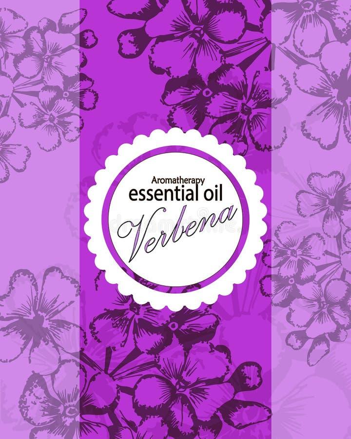Etiqueta para el aceite esencial de la verbena ilustración del vector