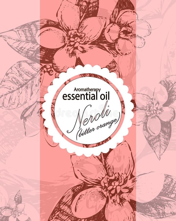 Etiqueta para el aceite esencial de las flores de la naranja amarga libre illustration