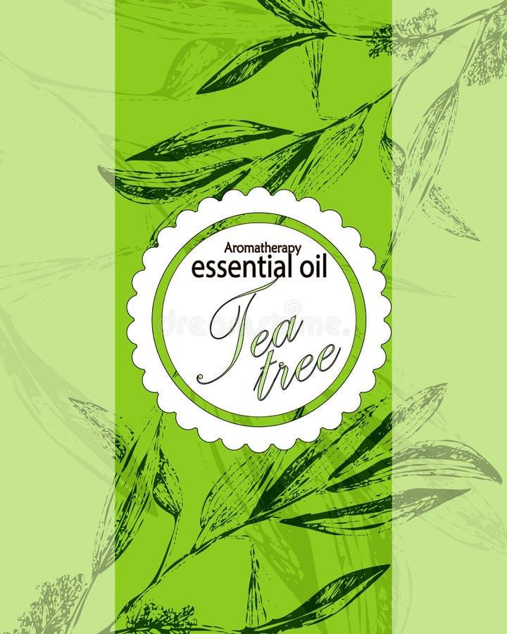 Etiqueta para el aceite esencial del árbol del té libre illustration