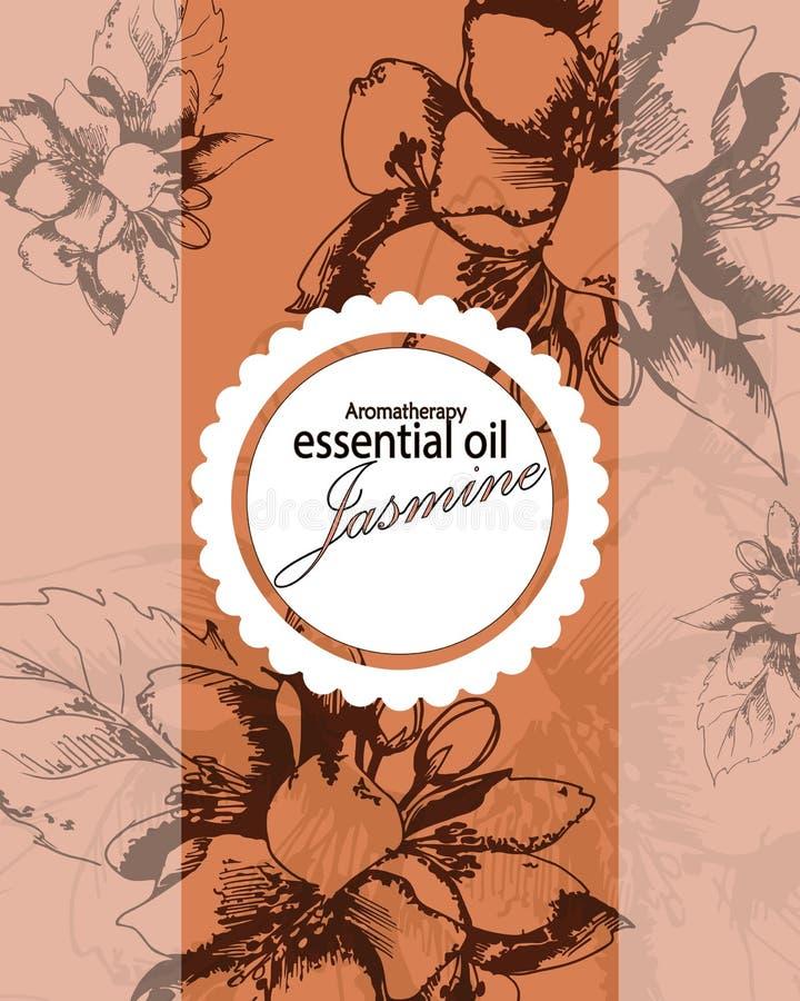 Etiqueta para el aceite esencial del jazmín stock de ilustración