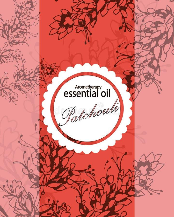 Etiqueta para el aceite esencial del pachulí stock de ilustración