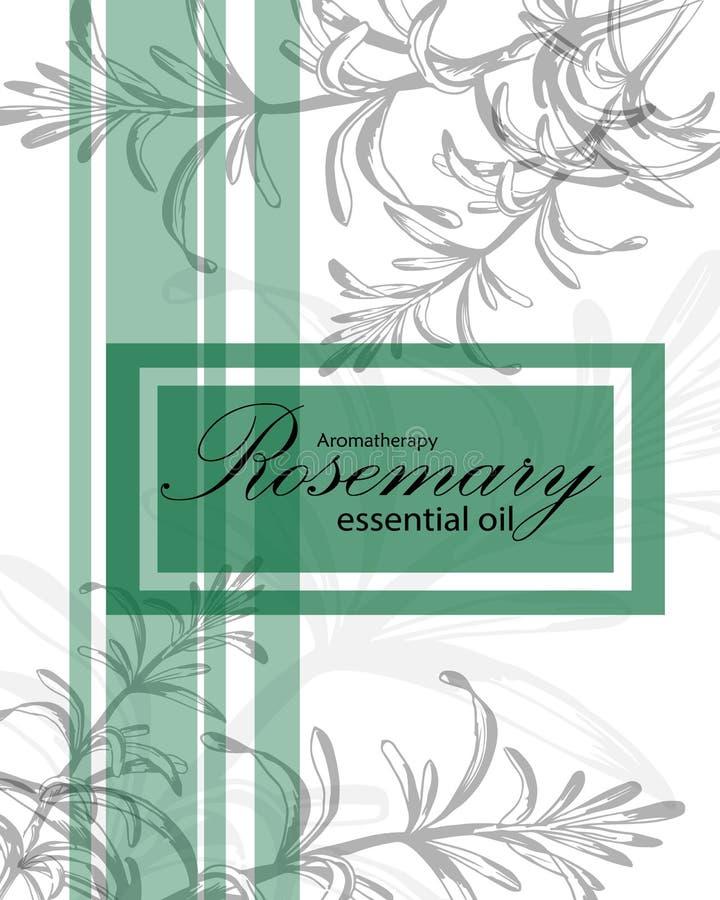 Etiqueta para el aceite esencial del romero stock de ilustración
