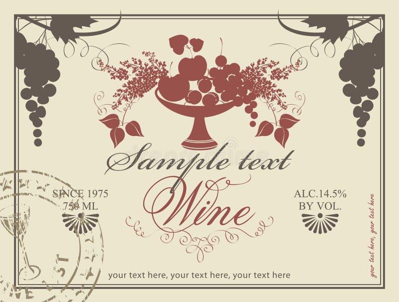 Etiqueta para el vino ilustración del vector
