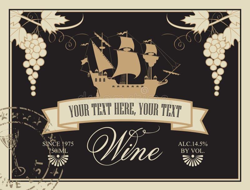 Etiqueta para el vino stock de ilustración