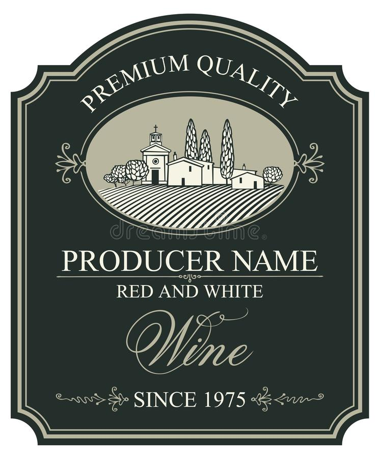 Etiqueta para el vino con paisaje rural europeo stock de ilustración