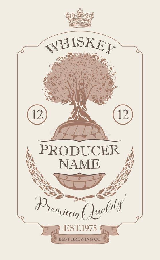 Etiqueta para el whisky con la corona y el roble stock de ilustración