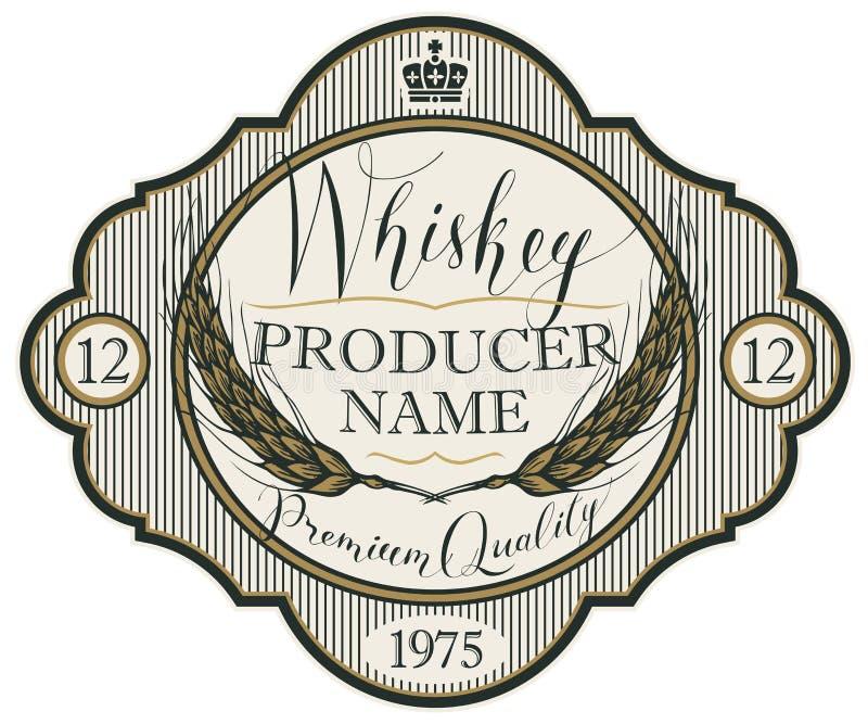Etiqueta para el whisky con los oídos de la cebada stock de ilustración