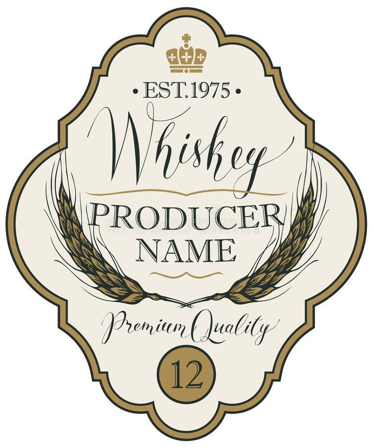 Etiqueta para el whisky con los oídos de la cebada libre illustration