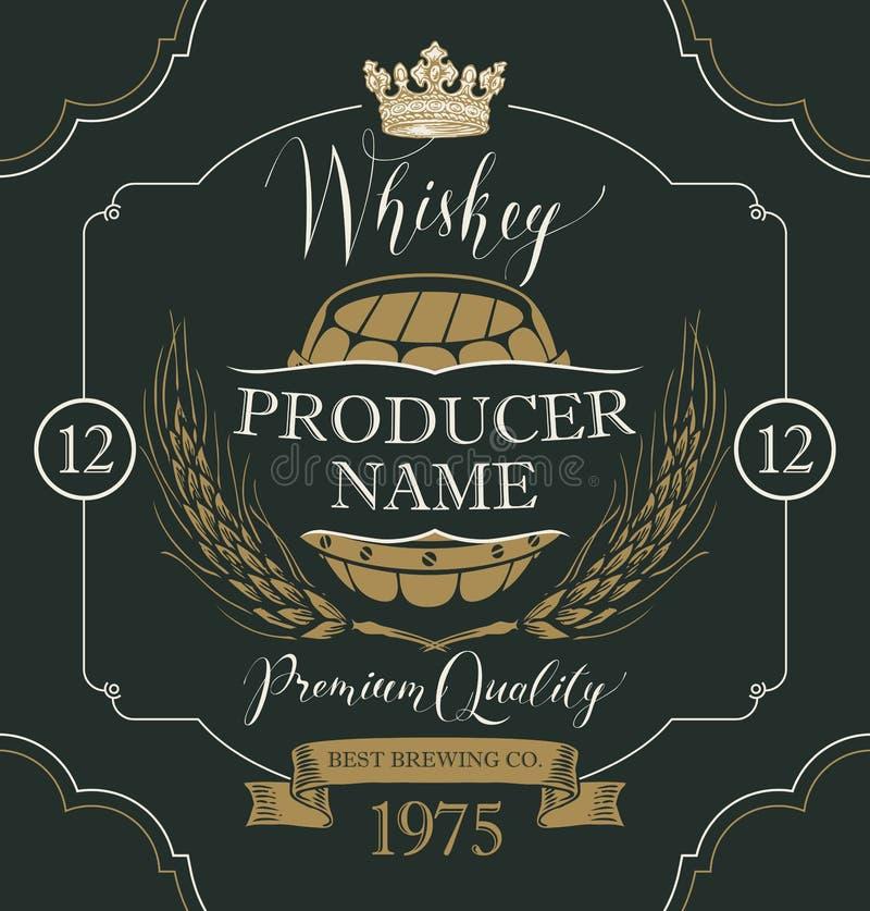 Etiqueta para el whisky con los oídos de la cebada y del barril stock de ilustración
