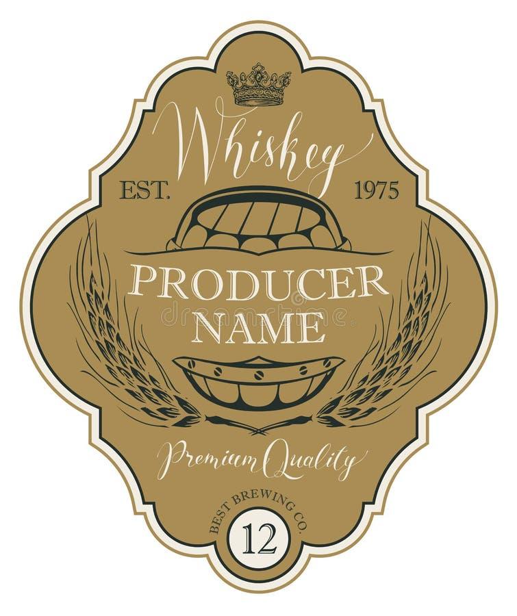 Etiqueta para el whisky con los oídos de la cebada y del barril ilustración del vector