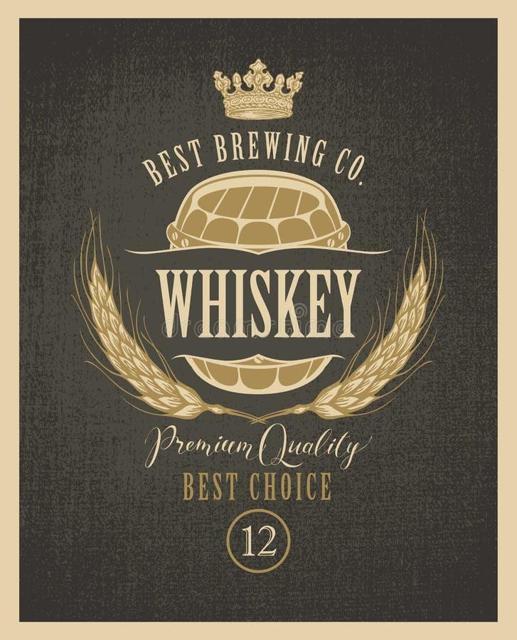 Etiqueta para el whisky con los oídos de la cebada y del barril libre illustration