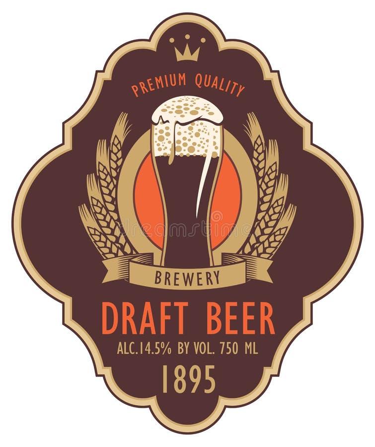 Etiqueta para la cerveza de barril con el vidrio y el escudo de armas libre illustration