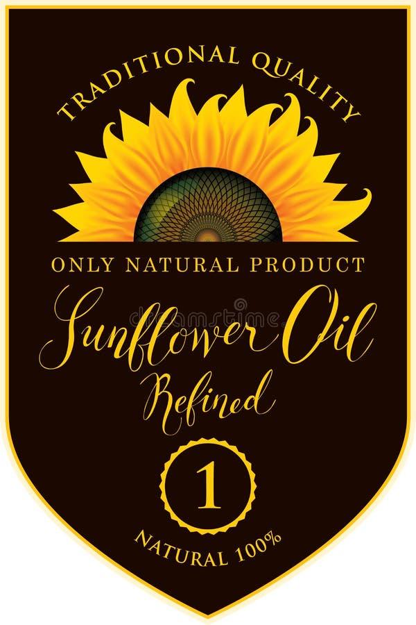 Etiqueta para o óleo de girassol refinado com inscrição ilustração stock