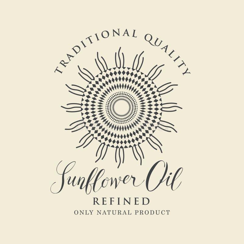 Etiqueta para o óleo de girassol refinado com inscrição ilustração royalty free